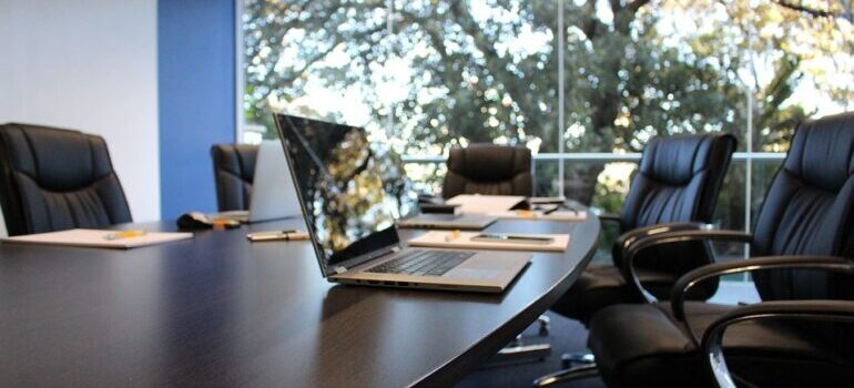 Office table with a laptop