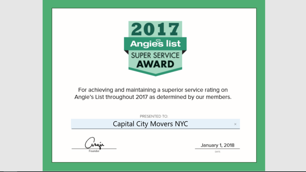 Capital City Movers NYC Earns Esteemed 2017 Angie's List Super Service Award