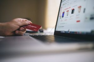 Online shopping - a computer and a credit card