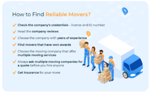 Tips for finding reliable movers.