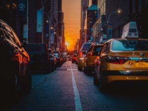 NYC street with taxi cars