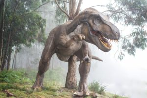 a replica of a dinosaur