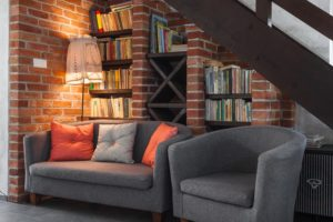 Reading nook under the stairs.