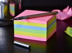 A block of post-it notes.