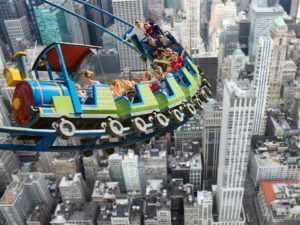 Kids on a rollercoaster in NYC.