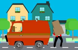 A drawing of a van and a man loading a box.