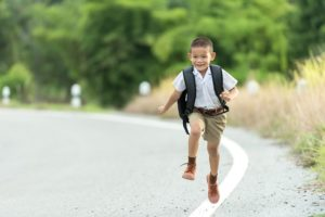 A boy walking