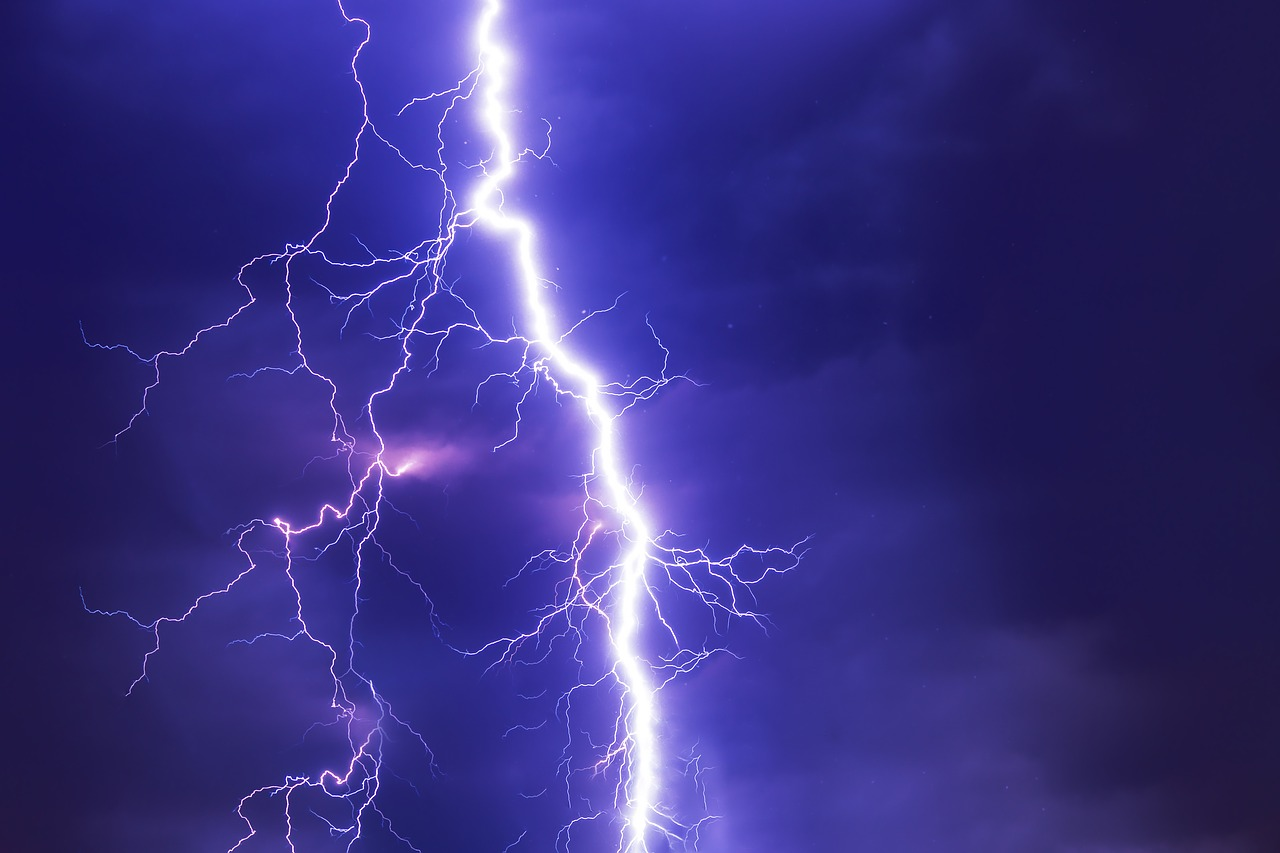 Lightning when moving during a rainstorm
