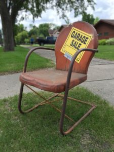 a chair on a garage sale