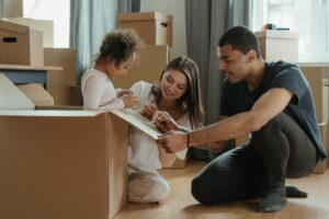 Family preparing for relocation