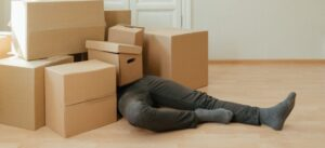 Not throwing away the boxes as a way to reduce waste and recycle when moving