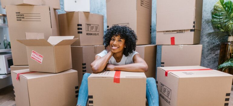 woman with moving boxes