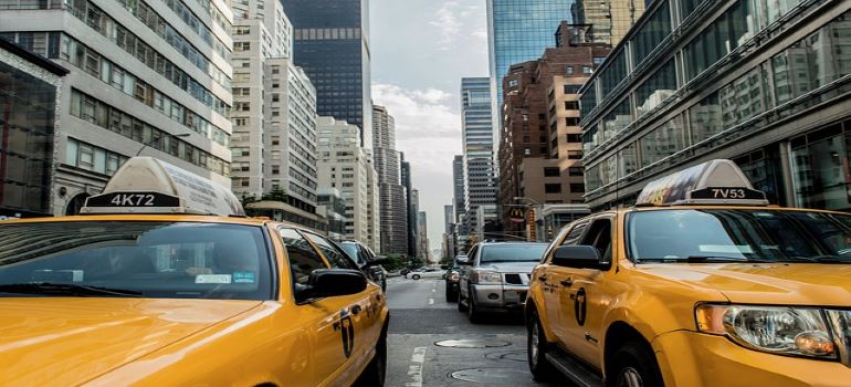 Taxis on the road